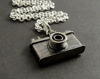 Camera Necklace, Silver Plated Camera Charm on a Silver Cable Chain