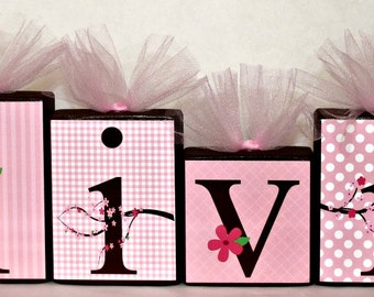 Cherry Blossom Name Blocks- Olivia Blossom Collection Personalized Blocks - Pink and Brown -