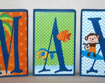 Lucas Collection - ALL CAPITALS - Surfing Monkey Personalized Blocks-