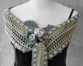 Ice Rose wrap scarf, crochet wrap scarf, Blue gray wrap scarf, Freeform wrap scarf, Pastel wrap cape, Spring wrap scarf, Lace scarf cape,