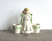 1940s Dutch Girl Double Bucket Pail Planter Blonde