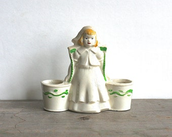 1940s Dutch Girl Double Bucket Pail Planter Blonde