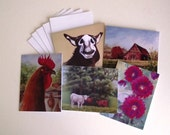 BARNYARD Country Greeting Cards Set of 5 Blank 4 x 6 All Occasion