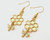 Bumble Bee Earrings, Honeycomb Earrings, Gold Bee Earrings, Honey Bee Earrings, Choose Gold Plated or Gold Filled