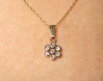 Diamond Flower Pendant Necklace and Chain in 14K Yellow Gold