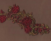 Hand Dyed Floral Venise Lace Applique Rose Scroll  Edwardian Christmas