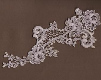 Hand Dyed Floral Venise Lace Applique  Vintage Lavender Bliss