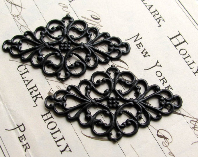 Diamond shaped black filigree link, ornament, 45mm wrap, black antiqued brass (2 flat filigree) dark aged patina, made in the USA, OR-SG-021