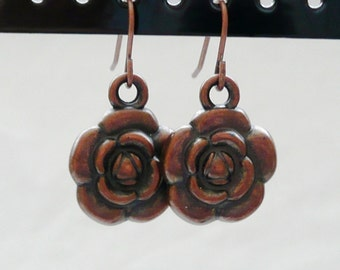Antique Copper Flower Dangle Earrings