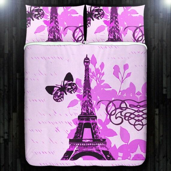 Pink paris bedding eiffel tower duvet cover queen size king twin