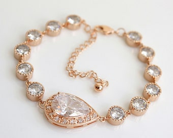Bridal Bracelet, Rose Gold Crystal Bracelet, Wedding Jewelry, Clear Cubic Zirconia, Teardrop Bracelet, Pink Gold Bracelet, Emma