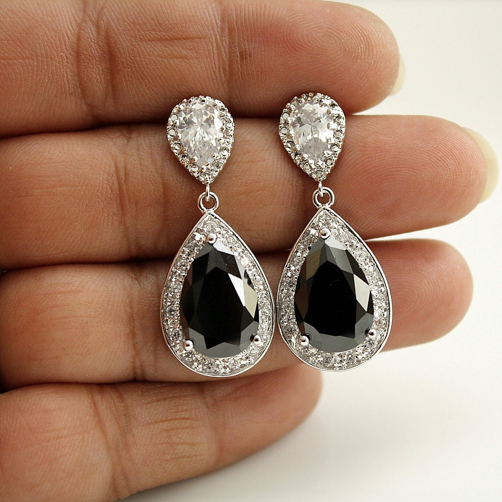 black wedding earrings bridal jewelry silver by poetryjewelry