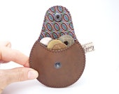 Coin Pouch / The Mini Gypsy for Guys Vegan Edition /  Faux Leather and Recycled Necktie Ready to Ship