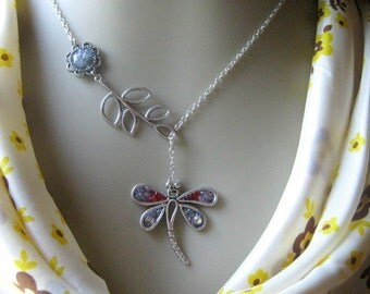 Dragonfly Lariat Necklace, Bridesmaids Necklace, Twig Lariat Necklace, Lariat Jewelry, Purple Dragonfly, Dragonfly Jewelry, Purple Lariat