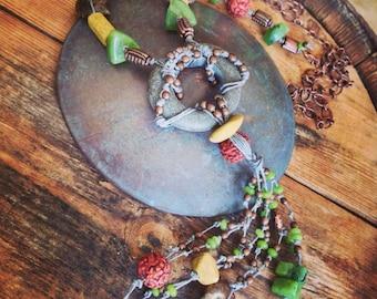 She's a Wound Soul Necklace - Tied Jewelry - Ammonite - Earthy OOAK Jewelry by YaYJewelry