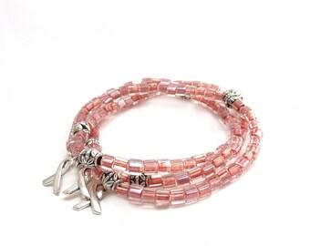 Breast Cancer Awareness Bracelets - Blush Pink -  Seed Bead Stack Bracelets - Survivor - Silver Hope Ribbon - Donation - Set of 3