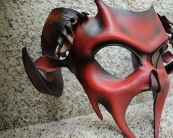 MADE TO ORDER- Leather Demon, Pan or Bacchus mask by Parkers and Quinn.Wearible Art, Display, Labyrinth Mardi Gras day of the dead