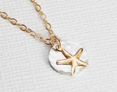 Tiny Gold Starfish Necklace, Dainty Starfish in 14k Gold filled, Tiny Starfish Necklace, Sterling Silver Hammered Disc