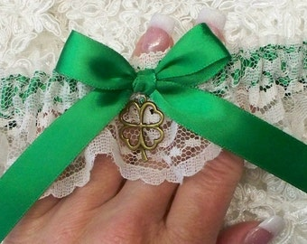 Irish Wedding Garter with Emerald Green and Shamrock
