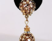 Gorgeous 1960's Gold Tone Disco Ball Dangling Earrings
