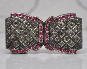 Antique Art-Deco Paste Pavé Set Pink and Clear Bow Finding