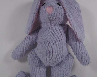 Babys Simple Lavender Chenille Bunny Soft Toy