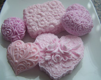 Pink Hearts and Roses Bridal Shower Guest Soap Doodaba