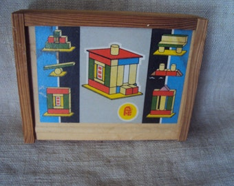 Vintage Miniature Wooden Block Building Set in Original Wooden Carrying Box with Litho Paper Label