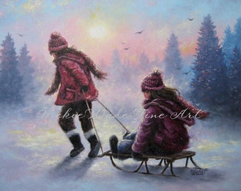 Two Sisters Sledding ORIGINAL Oil Painting 18X24 two girls, children snow sledding, winter paintings, two girls sledding, Vickie Wade art