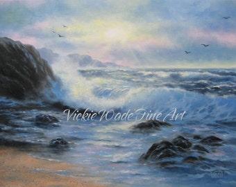 Seascape Painting 18 X 24 art, original oil seascape paintings, ocean paintings, blue sea, evening sea, beautiful seascape, Vickie Wade art