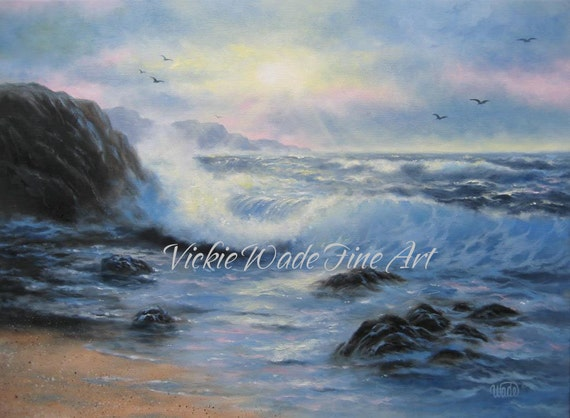 Seascape Oil Painting 18 X 24 art, seascape paintings, ocean paintings, blue sea, evening sea, Vickie Wade art