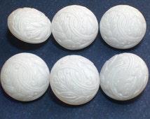 6 Beautiful White Glass Vintage Buttons Glass Shank 18mm Wedding Sweater Button Set