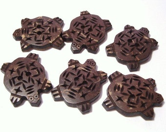 6 Turtle Buttons Carved Coconut Shell Buttons for Adornment Embellishment Clothing 24mm