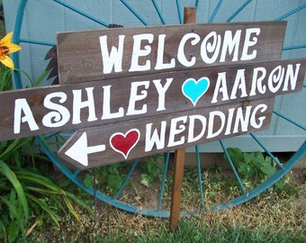 Wedding Signs ,wooden Rustic LARGE painted wood signs beach decorations custom personalizied signage reception barn decor bridal ceremony