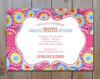 Tie Dye Invitation / Digital pdf or jpeg file / PRINTABLE INVITATION / Item 82612