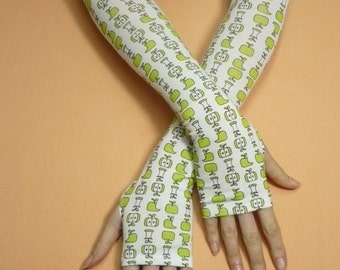 Sweet Thin  Armwarmers, Boho, Hippie, Fingerless Gloves, Happy, Green Apple, Tattoo Covers, Ladie's Sleeves