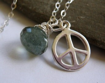 Peace.......Sterling Silver  Moss Aquamarine Gemstone Drop Peace charm Necklace