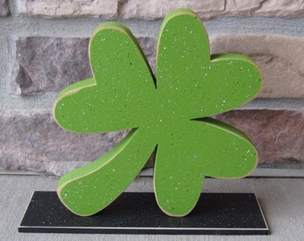 "8""x 8"" CLOVER or SHAMROCK block on a stand for St. Patricks Day, and  home decor"