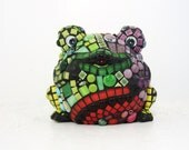 RESERVED frogs mosaic -- Rainbow Mosaic Frog 3-D JillsJoy Mosaic Will Charm Your Home and Heart . TAGT red green mosaic