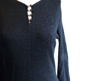 vintage. 50s Black Knit Dress // M