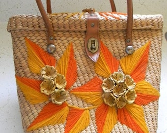 vintage. 60s Natural Woven Tote  // Retro Glam 60s