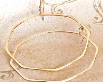 Big Geometric Gold Hoop Earrings, Large Octagon 14K Yellow Gold Hoops, Boho Earrings, Boho Jewelry, Modern Earrings, Shiny Hammered Earrings