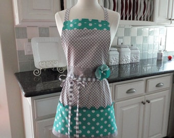 "Apple of My Eye ~ Aqua and Gray Dot-  ""Barbie Style Pockets & More""  Women's Apron - 4RetroSisters"