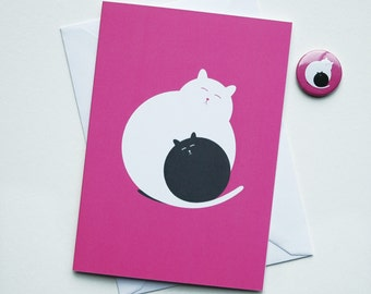 Valentines Card, Cat Valentine's Card, Valentines Day Card, hugging cats, cute kitty card, pet lovers gift, Pink Card