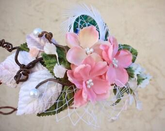 bridal crown, bridal head piece, wedding head piece,  natuaral hair crown, natural pine cone rose floral hair crown 'Take my breath away'