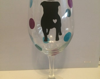 Pit Bull with Halo Wine Glass