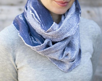 Jeans blue felted cowl boho scarf chunky scarf women wool wrap white cotton scarf winter hood infinity scarf men loop summer scarf