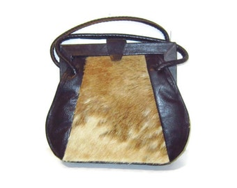 Vintage  calf hair handbag, Leather box purse,  1940's navy blue purse