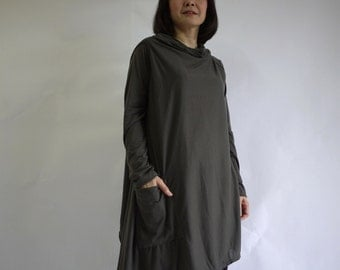 2 in 1 - Long Sleeve Or Sleeveless Asymmetrical Hem Dusty Charcoal Cotton Mix Polyester Tunic Wrap Cardigan Or Vest