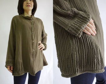 Long Sleeve Stand Collar Front button Opening Dusty Dark Khaki Double Gauze Cotton Blouse Vest With Light Cotton Lining - AT321
